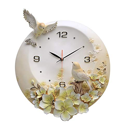 LG Snow Gelbe Blumen Handbemalte 3D Relief Vogel Mute Wanduhr Kreative Modern European Resin Luxury Home-Dekorationen 42 * 39cm
