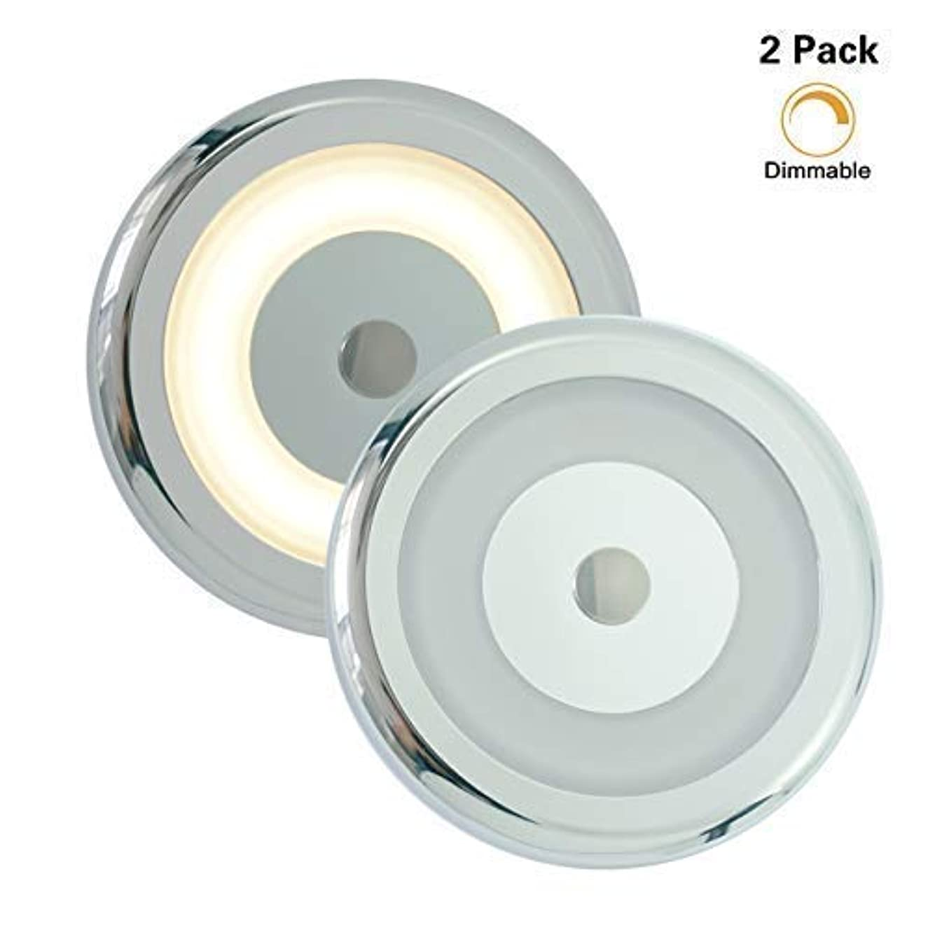 2 Pk RV Boat Touch Ceiling LED Light - Genuine Marine DC 12V 3W 2800K Soft White Full Aluminum Tap Light, Stepless Dimmable, Surface Mount and Hidden Fasteners Design, Stainless Steel Screws Included