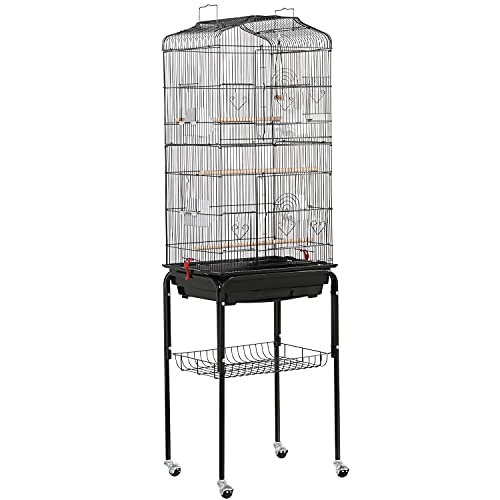 YAHEETECH 64-inch Open Play Top Rolling Bird Cage for Small Parrots Cockatiels Sun Parakeets Conure Finches Canary Budgies Lovebirds Medium Size Travel Bird Cage with Removable Stand