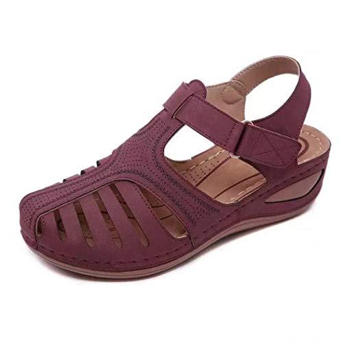 Gets Womens Summer Sandals Beach Walking Wedge Sandal Ankle Strap Casual Sport Sandals (Purple,8)