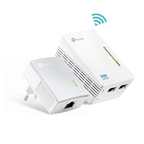 TP-Link TL-WPA4220 KIT AV600 WLAN N300 WiFi Powerline (max. 600Mbit/s Powerline, max. 300Mbit/s WLAN 2,4GHz , Plug und Play, kompatibel zu allen Powerline Adaptern, 2er Set) weiß