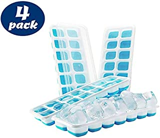 Ice Cube Trays - Silicone Base with lids, Blue, BPA Free Food Grade (4 Pack)