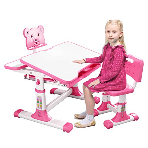 [Shipped from US] Kids Desk and Chair Set, Height Adjustable Ergonomic Design Kids Study Table with Reading Board, Pull-Out Storage Drawer, School Student Writing Tables for Boys & Girls