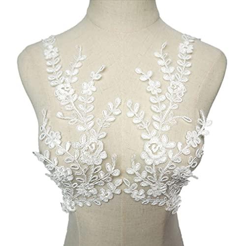 SCDZS 2 stücke Weiße Blumen Blatt Zweig Quaste Mesh Stoff Hochzeit Applikationen Nähen Patches Spitze Stickerei Für Kleid DIY Dekoration