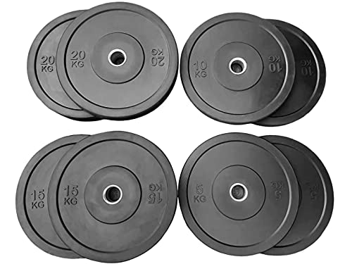 100kg Bumper Plates Weights Set CHOOSE YOUR OWN COMBINATION OF SIZES for use with Olympic 2 inch Barbells. 100% rubber great for crossfit functional training bodybuilding powerlifting home gym