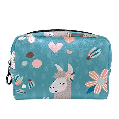 Cosmetic Bag Womens Makeup Bag for Travel to Carry Cosmetics Change Keys etc,Teal Mama Llama