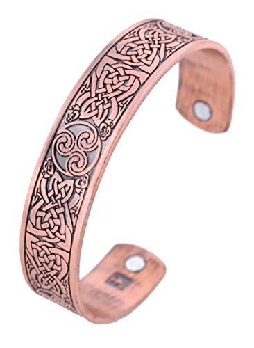 Pulsera magnética con nudo celta vikingo, trinidad irlandesa, trikele, unisex (cobre antiguo)