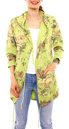 Easy Young Fashion Damen Cardigan Sweatjacke Lang Cotton Sweatparka Shirtjacke mit Kapuze Geblümt One Size Apfelgrün