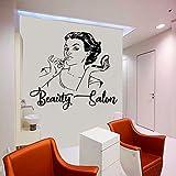 AGjDF Salón de Belleza Mujer Cara Etiqueta de la Pared diseño de Belleza Vinilo calcomanía salón de Belleza Ventana decoración Impermeable mural42x37cm