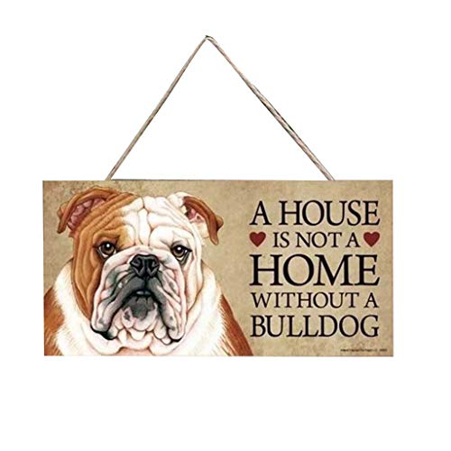 Shan-S A House is NOTA Home Without A Frenchie -Rustic Style Dog Sign/Plaque, Rectangular Wooden Pet Hanging Tag,Lovely Friendship Animal, 20x10cm