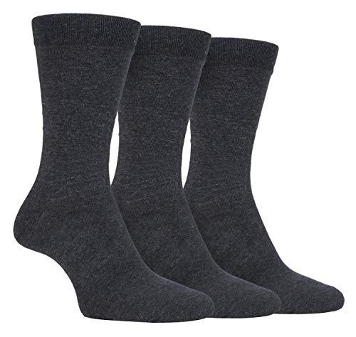FARAH® - 3er Pack Herren Baumwolle Bunt Muster Anzug Business Socken (39/45, CS34LGRY (Plain))