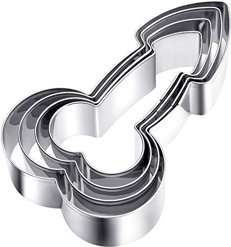 8 Pieces Stainless Steel Cookie Cutter Funny Metal Fondant Biscuit Baking Molds with 4 Different Sizes for DIY Baking
