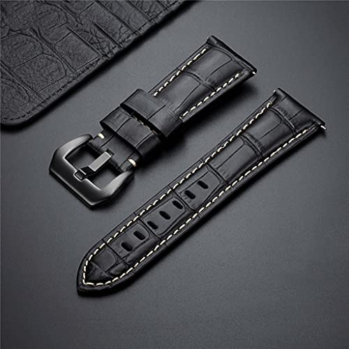 ZYING Nuevo 20 22 24 26mm Correa de Reloj de Cuero Genuino Correa de Reloj Azul Accesorios de Reloj Pulsera con Hebilla de Metal sólido (Color : Black, Size : 24mm)