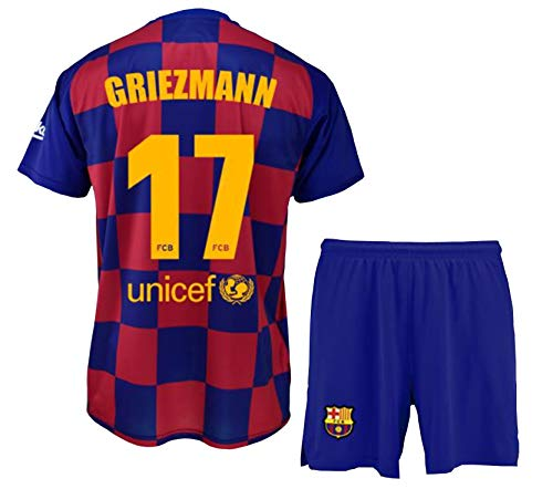 FCB Trikot und Hose für Kinder Griezmann des FC Barcelona, offizielles Lizenzprodukt, Saison 2019-2020, Farbe: Blau, Blau/Weinrot, Talla 14