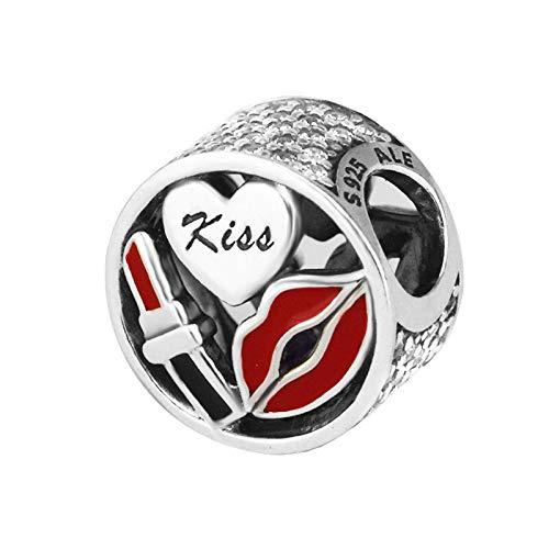 LISHOU Mujer Pandora S925 Plata De Ley Glamour Kiss Charms Bead Fashion Girl Pulsera Collares Fabricación De Joyas DIY