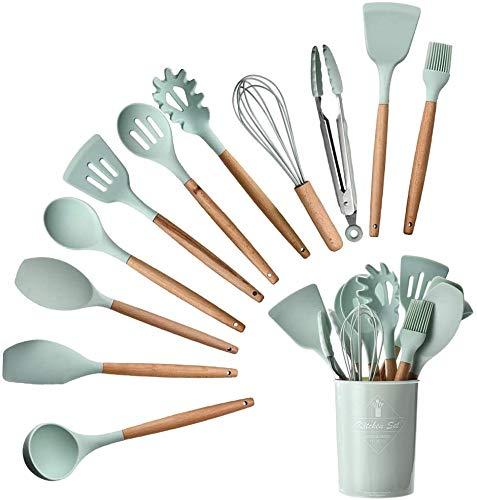 Blanca's Feel Juego de Utensilios de cocina de silicona 12 Piezas Antiadherente, Resistentes al calor, pinza espagueti, pinza para servir