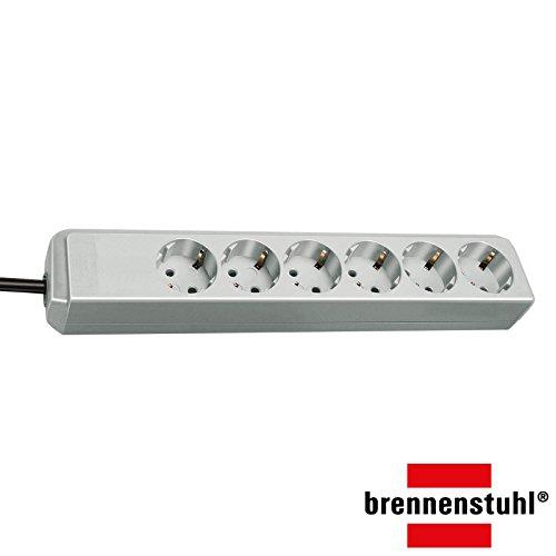 Brennenstuhl Eco-Line, Steckdosenleiste 6-fach | 1,5m Kabel - besonders stromsparend | ohne Schalter (6-fach | ohne Schalter | lichtgrau)