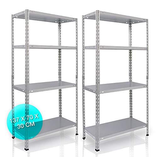 NAWA Home & Work Estantes de almacenamiento, pack de 2 estanterías para el sótano/estantería para taller/estantería para garaje, estantería práctica y versátil (137x70x30GA) PACK-EST137GA