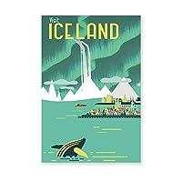 アイスランドのヴィンテージ旅行ポスタープリントノーザンライトランドスケープアートキャンバス絵画壁画家の装飾50x70cmフレームなし