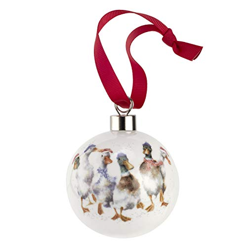 Portmeirion Home & Gifts All Wrapped Up (Ducks) -Christmas Bauble, Multi-Colour Colour, 9