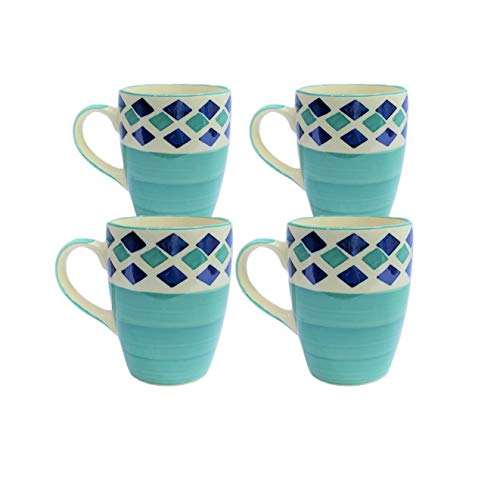 Era India Eclectic Ceramic Mugs for Coffee, Tea, Milk 275ml - Tableware, Ideal Drinking Cups for Gifts, Microwave Safe, Dishwasher Safe (Cyan & Blue) (Set of 4)