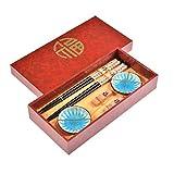 Quantum Abacus: Elegante Set de Palillos Caracteres de la Suerte de Madera Tallada con 2 Pares de Palillos, 2 Soportes, 2 Cuencos de cerámica, en Caja de Regalo, Mod. I_S2-B-W-05
