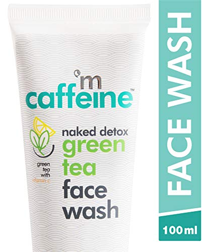 mCaffeine Naked Detox Green Tea Face Wash | Dirt Removal | Vitamin C, Hyaluronic Acid | All Skin | Paraben & SLS Free | 100 ml
