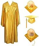 GraduationForYou Shiny Graduation Cap and Gown, 2021 Tassel Gold