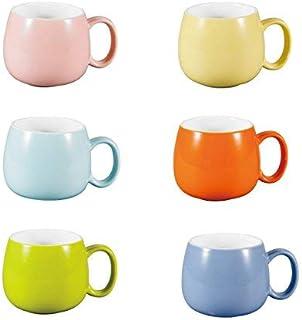 Panbado Juego de Tazas de Porcelana de 6 Piezas Tazas de Cerámica de 6 Colores Tazas de Café/Té para Desayuno, Fiesta, Oficina, 375 ml (13,5 * 10 * 8,5 cm), Regalo para Cumpleaños, Festival