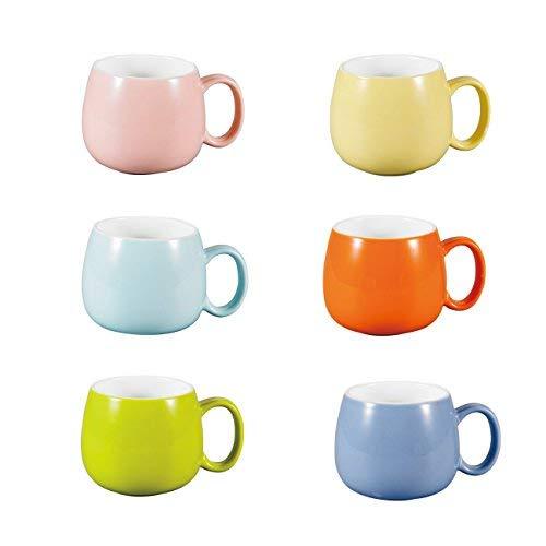 Panbado Juego de Tazas de Porcelana de 6 Piezas Tazas de Cerámica de 6 Colores Tazas de...