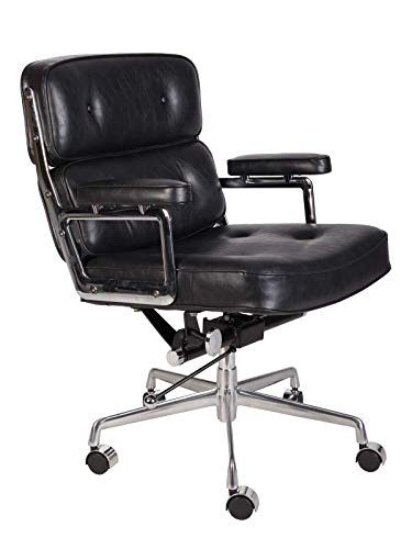 LazyBuddy Vintage Black Soft Pad Executive Management Office Replica Chair Swivel and Polished Aluminium Frame
