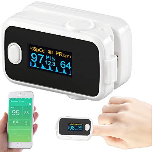 newgen medicals Pulsoxymeter: Medizinischer Finger-Pulsoximeter mit OLED-Farbdisplay, Bluetooth, App (Oximeter App)