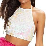 Luckycat Camisetas Sin Mangas Mujer Tallas Grandes S~XL Camisetas Mujer Verano Blusa Mujer Sport Tops Mujer Verano Camisetas Mujer Fiesta Elegante Tank Tops Lentejuelas