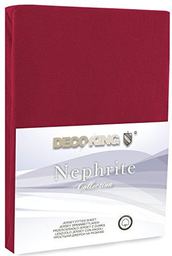DecoKing 18804 80×200-90×200 cm Spannbettlaken Bordeaux 100% Baumwolle Jersey Boxspringbett Spannbetttuch Bettlaken Betttuch Maroon Nephrite Collection - 2