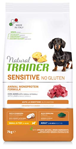 Natural Trainer Sensitive No Gluten - Cibo per Cani Small & Toy Adult con Agnello e Cereali Integrali 7 kg