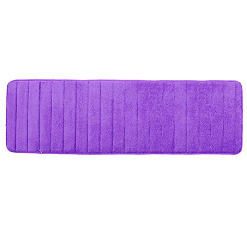 Ainstsk lang Memory Foam Badvorleger, 49,8x 160cm Mikrofaser Rutschfeste saugfähig schnell trocknend Badezimmer Teppich Teppich, im Badezimmer Matten Wasser saugfähig, Violett, Free Size