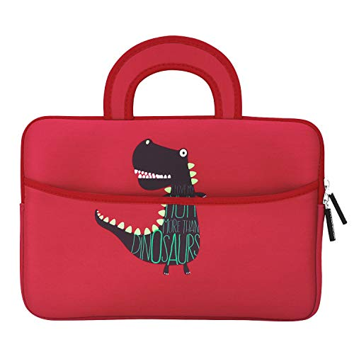 MoKo Fire HD 10 Inch Kids Tablet Sleeve Case Bag, [Shock-Proof] Zipper Handle Pouch Portable Neoprene Cover for Amazon Fire HD 10 Kids Edition, Kindle Fire HD 10.1 Inch - Dinosaur Red
