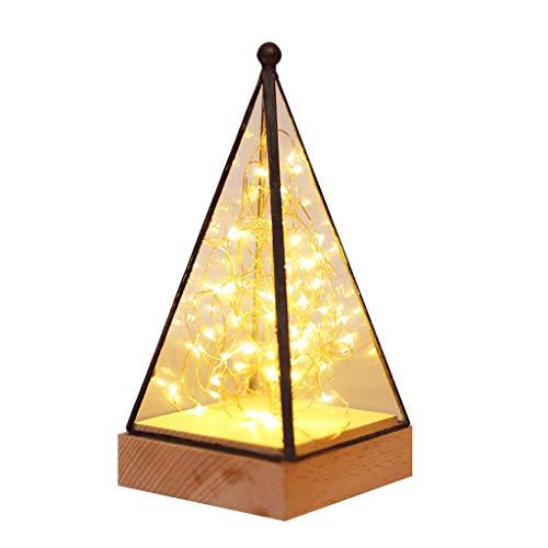 Mingl Pyramidenbaum Silber Laterne, Nachttischlampe aus massivem Holz mit Nachttisch, USB-Kabel (Schalter) / 40W A++