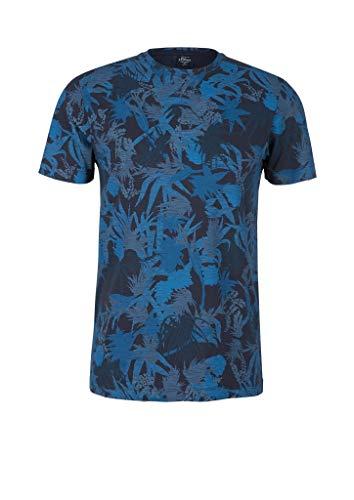s.Oliver RED Label Herren T-Shirt mit Palmen-Print Ink Navy XL