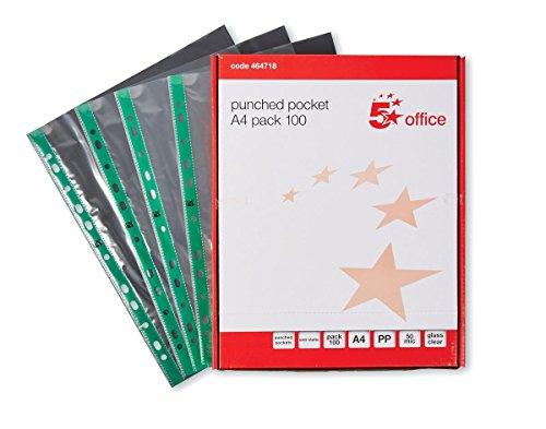 5 Star 464718 - Fundas de plástico para documentos (60 micras, A4, 100 unidades), transparente