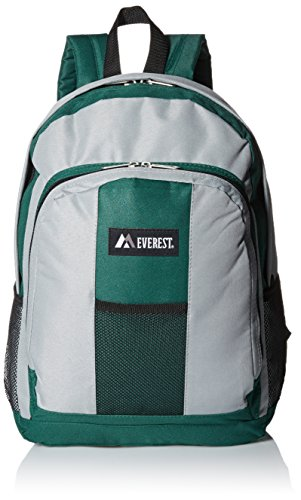Everest Luggage Backpack with Front and Side Pockets, Green/Gray, Large