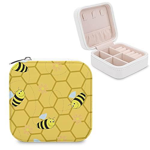 Organizador de joyas de viaje para niñas, mujeres, abejas, panales, abejas, colmena de abejas, estuche portátil de almacenamiento de joyas para anillos, pendientes, collares