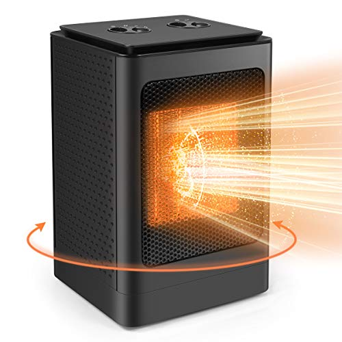 KoolaMo Electric Space Heater, Portable 1500W Ceramic Heater Oscillating Portable Office Heater with Adjustable Thermostat Tip-Over Protection for Office Bedroom Living Room Desk