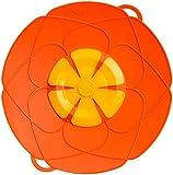 Kochblume L 29 cm Silikon orange Überkochschutz für Töpfe und Pfannen | Überkochstopp und Spritzschutz für Topfgrößen von Ø 14 bis 24 cm | Set mit Microfasertuch!