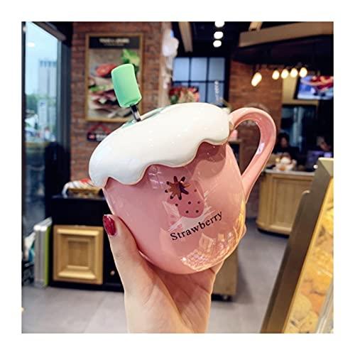 ZBYD Personalidad Creativa Copa de cerámica Dibujos Animados Strawberry Pummy Water Cup La Taza de la Taza de café de la Taza de café con la Tapa 625 (Color : Style A)