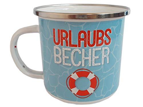 Maritimer Kaffeebecher für Urlauber aus Emaille - Becher mit Motiv Rettungsring inklusive Geschenknachricht - Blau Rot 300 ml