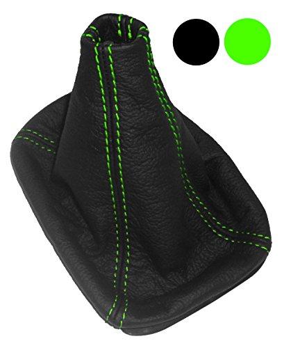 Aerzetix: Schutzhülle für Schalthebel 100% echtem Leder schwarz mit Naht Grün