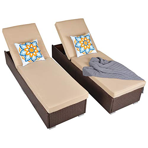 Patio Outdoor Chaise Lounge Chair, Adjustable PE Wicker Chaise Lounge Chair with Removable Cushion (2, Brown)