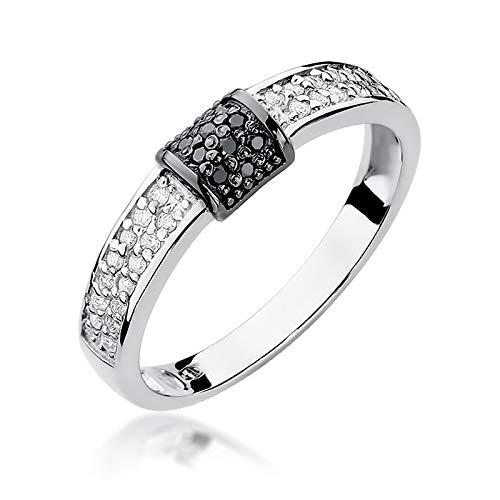 Anillo de mujer Zlocisto elaborado en oro con diamantes negros de 0,05ct y diamantes blancos talla brillante de 0,14ct H/Si Muestra585
