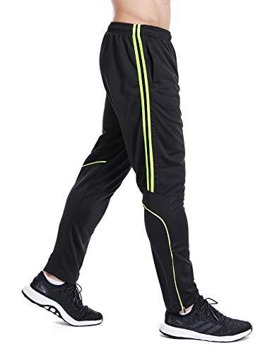 Men's Sweatpants Track Soccer Training Pants Active Jogger Pants Slim Fit Trousers Striped with Zipper Pockets M